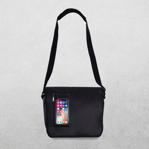 """Hold smartphone, tablet and 14"""" laptop in shoulder bag, direct access to touch screen."""